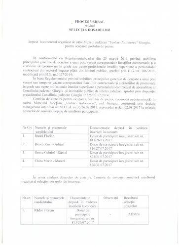 Pr. vb. privind selec.dos.concurs paznic