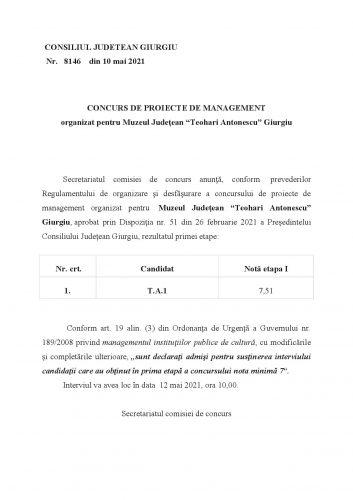 Concurs de proiecte de management